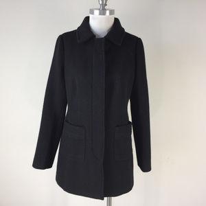 Ann Taylor Loft S 6 Black Wool Blend Textured coat